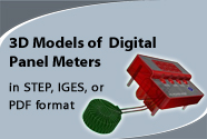 3D Models of Digital Panel Meters ; In STEP, IGES or PDF formats